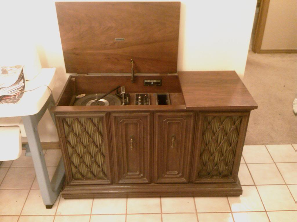 Antique Record Player Console The Image